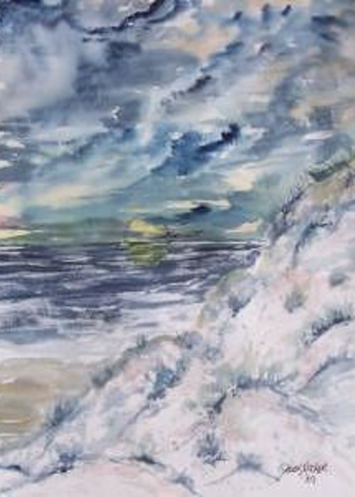 Seascape Greeting Card featuring the painting Dunes 2 Seascape Painting Poster Print by Derek Mccrea