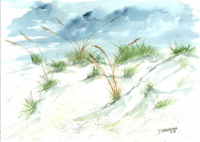 Beach Greeting Card featuring the painting Dunes 3 seascape beach painting print by Derek Mccrea