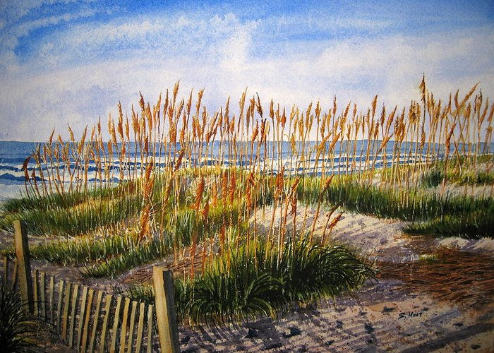 Landscape Greeting Card featuring the painting Dunes At Dawn by Shirley Braithwaite Hunt