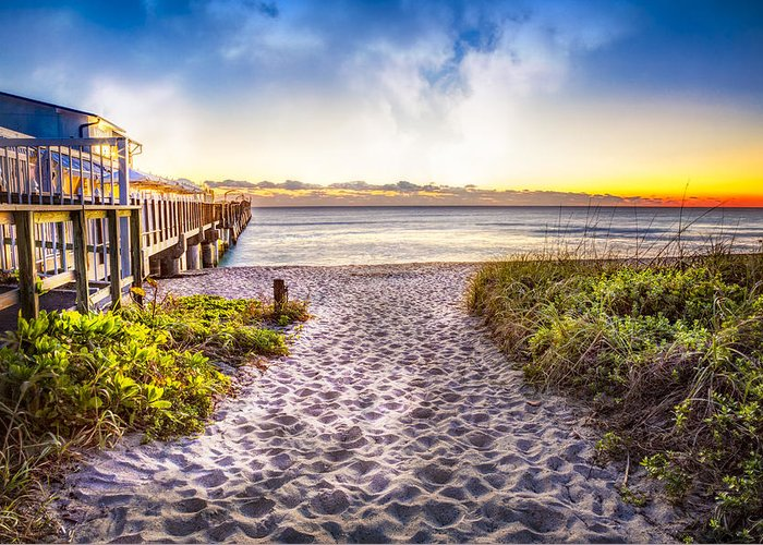 Boats Greeting Card featuring the photograph Dunes At The Pier by Debra and Dave Vanderlaan