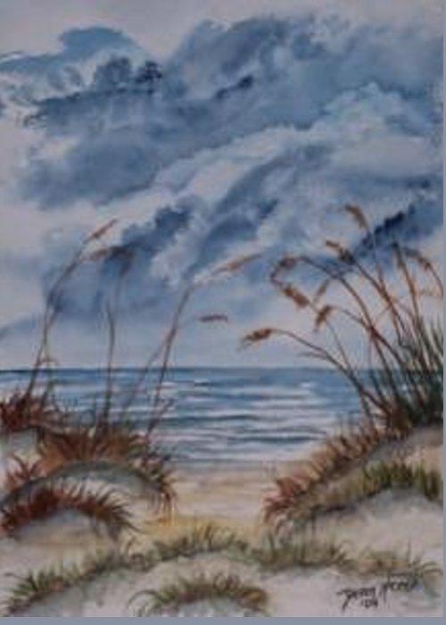 Watercolor Landscape Painting Seascape Beach Greeting Card featuring the painting Dunes Seascape Fine Art Poster Print Seascape by Derek Mccrea
