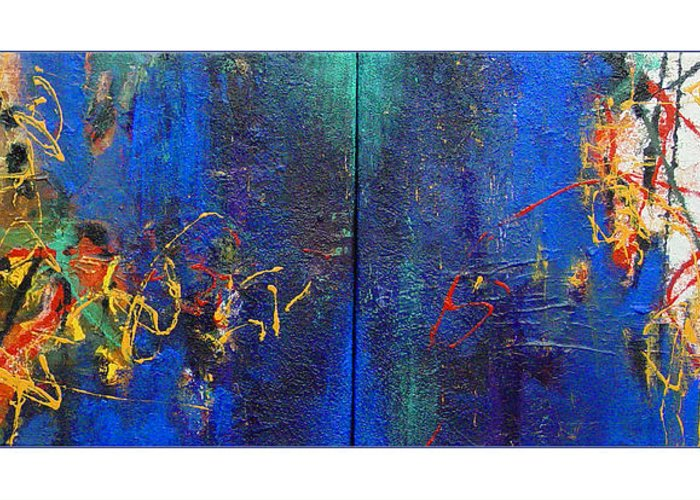 Abstract Greeting Card featuring the painting Duo by Dale Witherow
