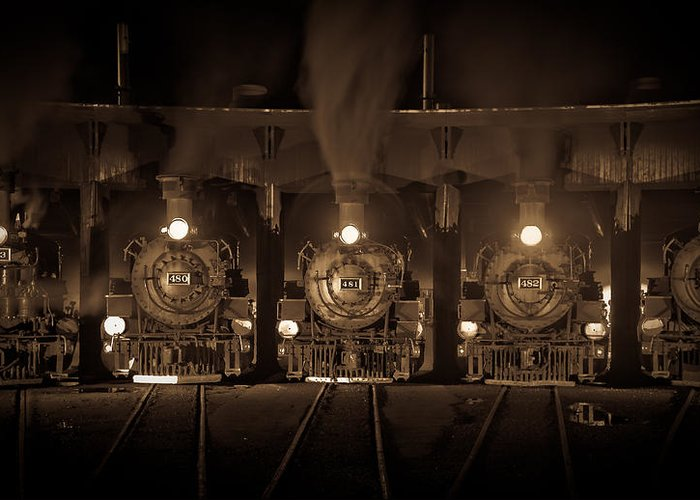Trains Greeting Card featuring the photograph Durango Roundhouse by Patrick Flynn