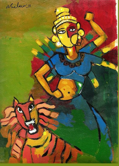 Maa Durga Greeting Card featuring the painting Durga by Abdus Salam