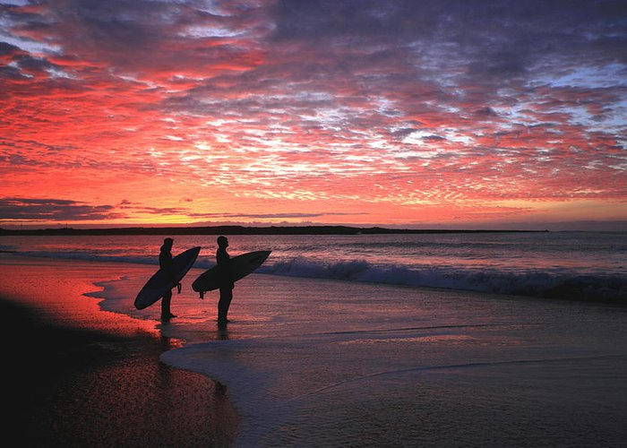 Sunset Greeting Card featuring the photograph Dusk At Halfmoon Bay by Mike Coverdale