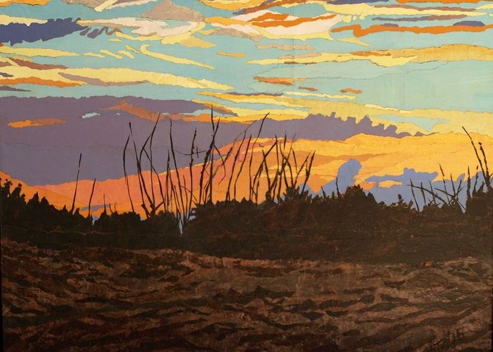 Sunset Greeting Card featuring the painting Dusk Fishing, Hutchinson Island by Leah Tomaino
