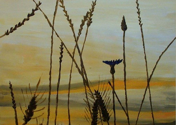 Nature Greeting Card featuring the painting Dusk by Mats Eriksson
