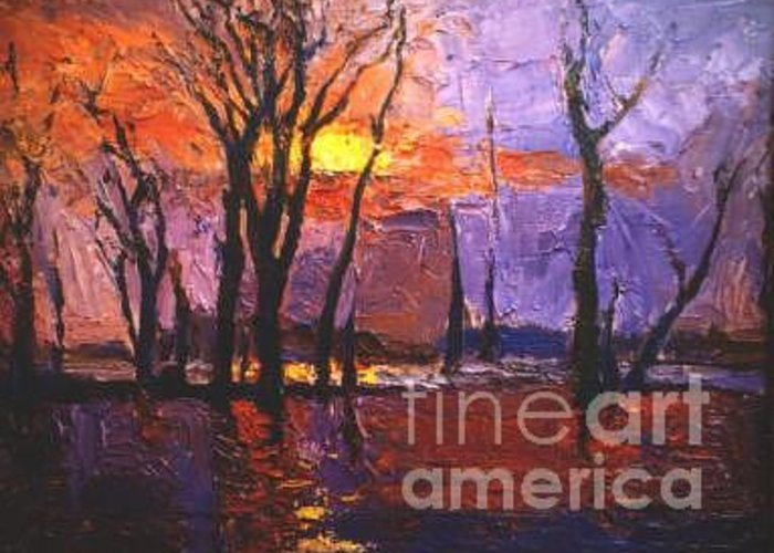 Dusk Greeting Card featuring the painting Dusk by Meihua Lu