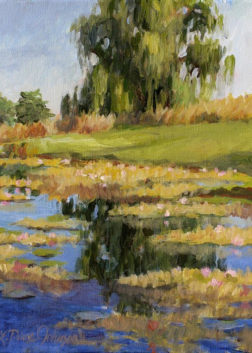 Pond Of Water Lilies Greeting Card featuring the painting Dusk Over The Pond by L Diane Johnson