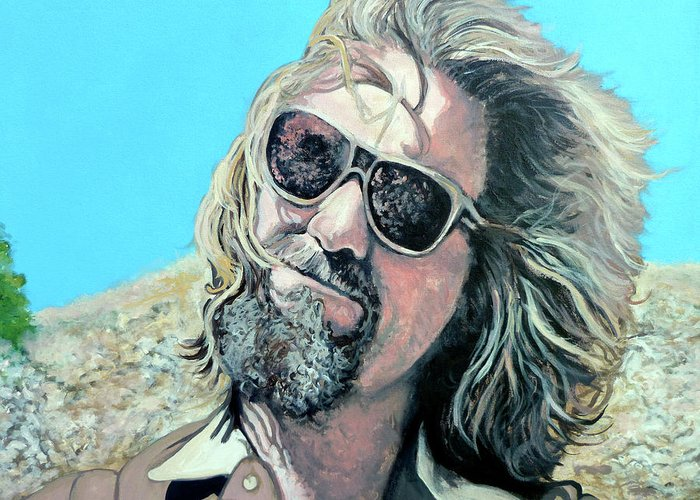 The Dude Greeting Card featuring the painting Dusted By Donny by Tom Roderick