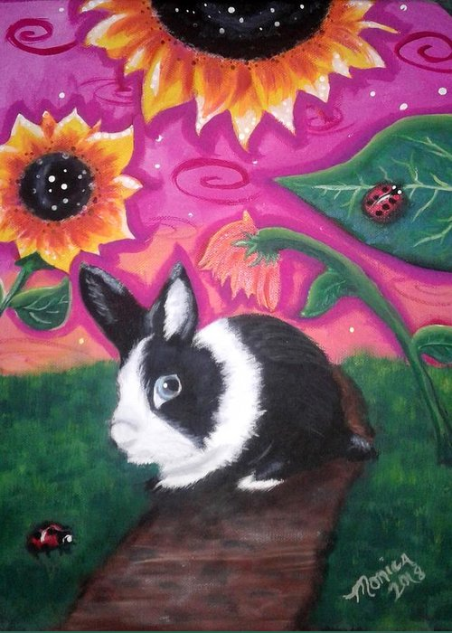 Dutch Bunny Greeting Card featuring the painting Dutch Bunny At Dusk by Monica Resinger