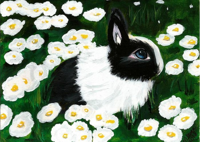 Dutch Bunny Daisies Acrylic Painting Black White Spring Easter Rabbit Impressionism Greeting Card featuring the painting Dutch Bunny With Daisies by Monica Resinger