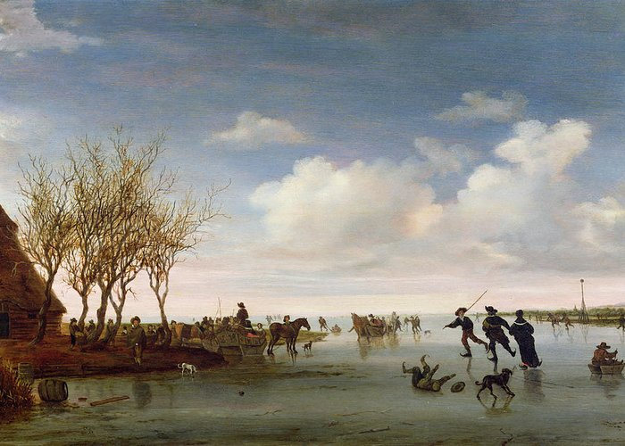 Dutch Greeting Card featuring the painting Dutch Landscape With Skaters by Salomon van Ruysdael