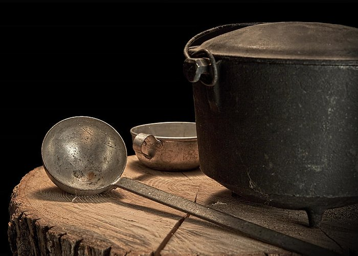 Kettle Greeting Card featuring the photograph Dutch Oven And Ladle by Tom Mc Nemar