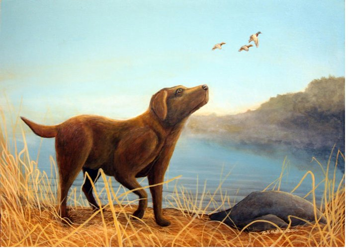 Chocolate Lab Painting Greeting Card featuring the Dutch by Rick Huotari