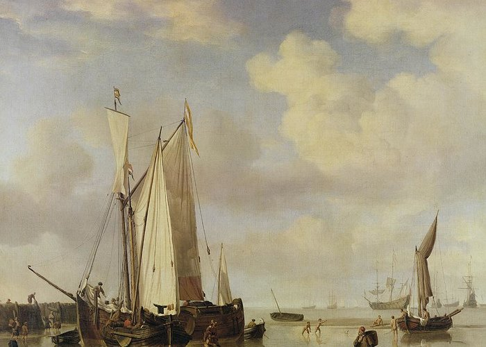 Dutch Greeting Card featuring the painting Dutch Vessels Inshore And Men Bathing by Willem van de Velde