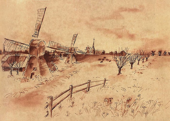 Windmill Greeting Card featuring the drawing Dutch Windmills by Ernestine Grindal
