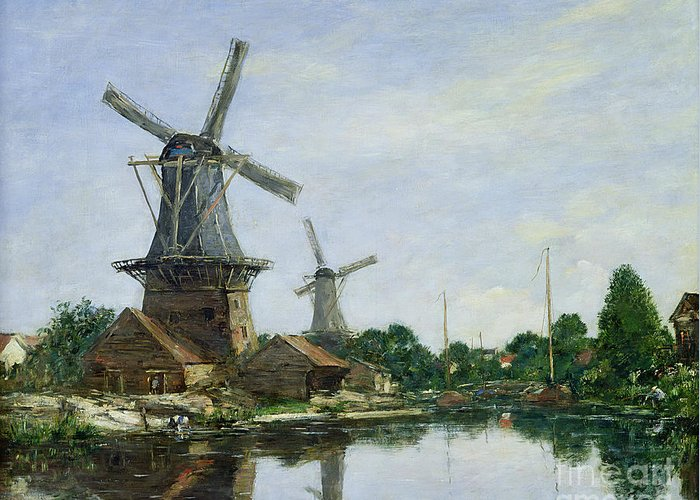 Dutch Greeting Card featuring the painting Dutch Windmills by Eugene Louis Boudin
