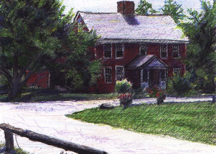 Shelburne Museum Greeting Card featuring the drawing Dutton House by Alicia Kroll