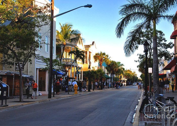 Key West Greeting Card featuring the photograph Duval Street In Key West by Susanne Van Hulst