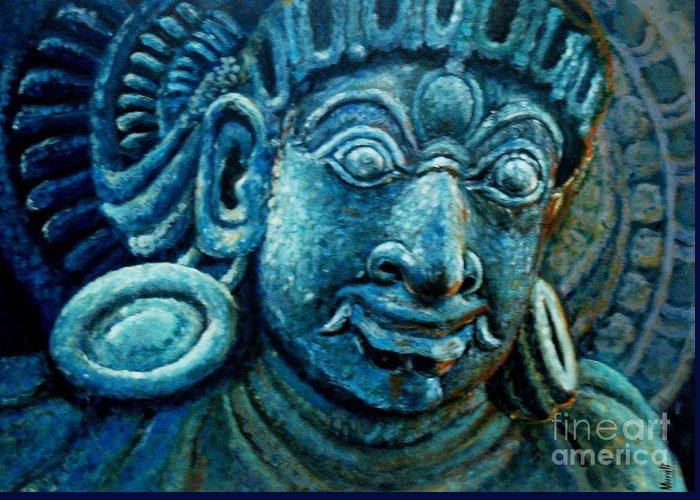 Sculpture Paintings Greeting Card featuring the painting Dwaarapalaka Gatekeeper by Murali