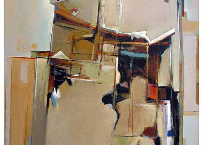 Abstract Greeting Card featuring the painting Dwelling Places by Dale Witherow