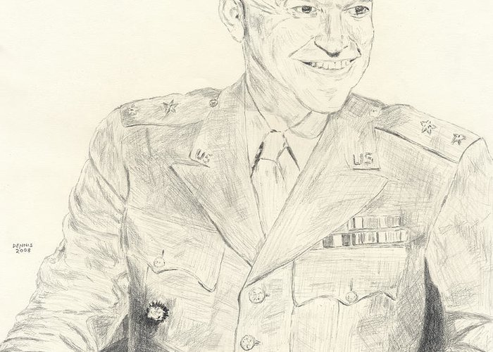 Dwight D. Eisenhower Greeting Card featuring the drawing Dwight David Eisenhower by Dennis Larson