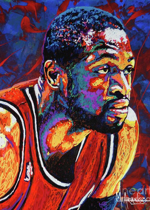 Dwyane Wade Greeting Card featuring the painting Dwyane Wade 3 by Maria Arango
