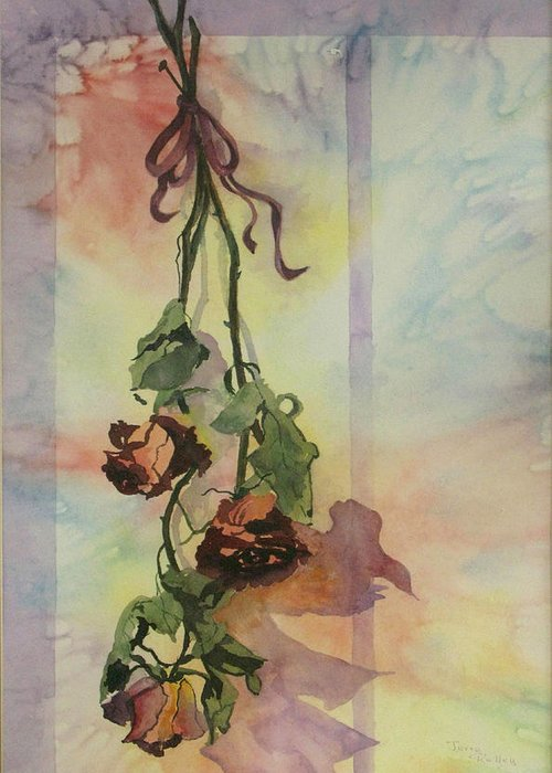 Roses Greeting Card featuring the painting Dying Roses by Jerry Kelley