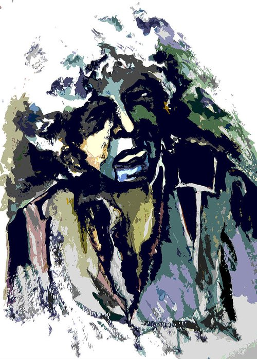 Bob Dylan Greeting Card featuring the painting Dylan by Mindy Newman