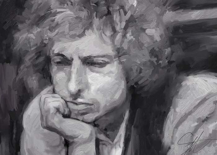 Bob Dylan Music Portrait Musician Rock Greeting Card featuring the digital art Dylan by Scott Waters
