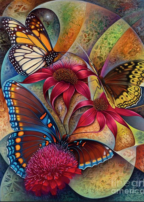Butterflies Greeting Card featuring the painting Dynamic Papalotl Series 1 - Diptych by Ricardo Chavez-Mendez