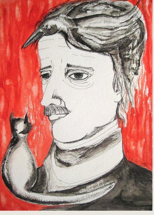 Edgar Poe Watercolor Portrait Cat Raven Nevermore Lenore Darkestartist Darkest Artist Black Red Greeting Card featuring the painting E. A. Poe by Darkest Artist