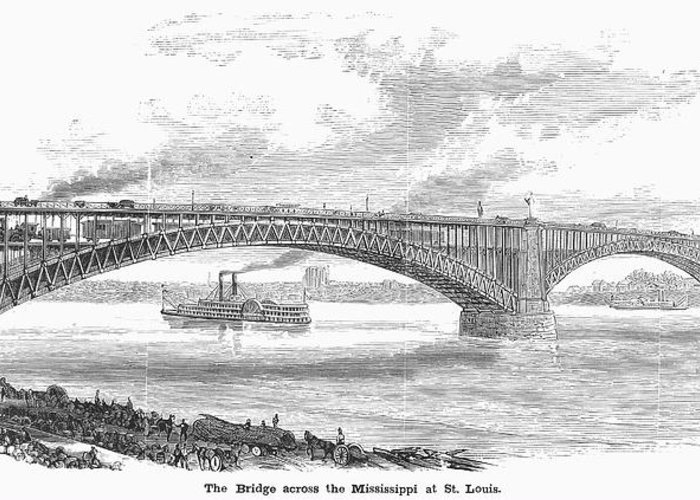 19th Century Greeting Card featuring the photograph Eads Bridge, St Louis by Granger