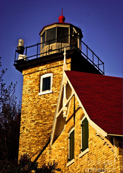 Door County Greeting Card featuring the photograph Eagle Bluff Lighthouse of Door County by Ever-Curious Photography