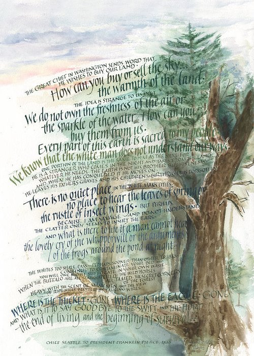 Chief Seattle Greeting Card featuring the painting Eagle Gone by Judy Dodds
