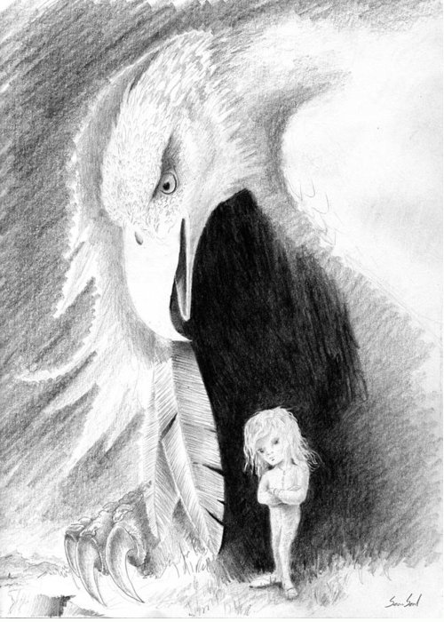 Eagle Greeting Card featuring the drawing Eagle Guardian by Sean Seal