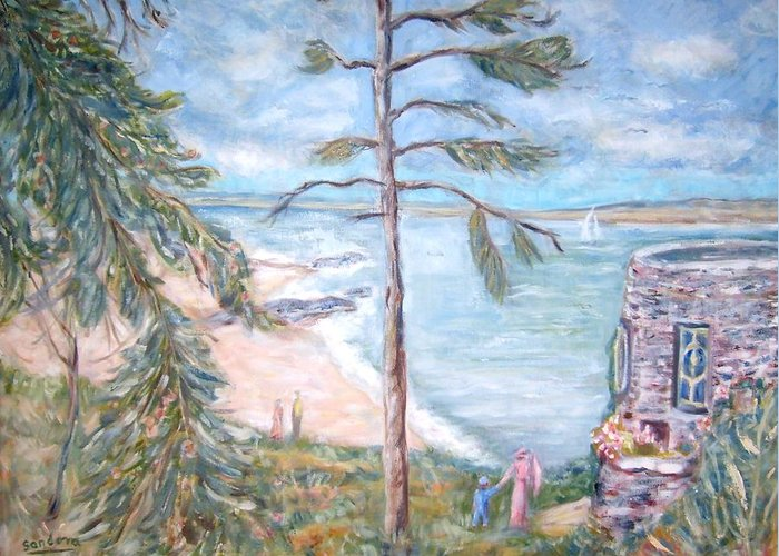 Seascape Landscape Fort People Pine Trees Greeting Card featuring the painting Eagle Island by Joseph Sandora Jr