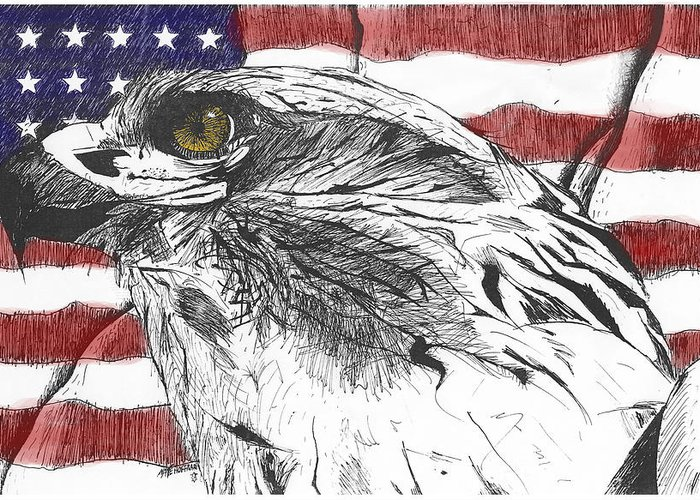 Patriotic Greeting Card featuring the drawing Eagle by Nathaniel Hoffman