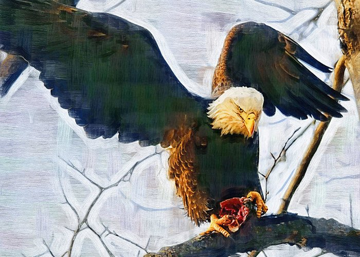 Eagle Greeting Card featuring the painting Eagle On A Tree With Dinner by Clarence Alford