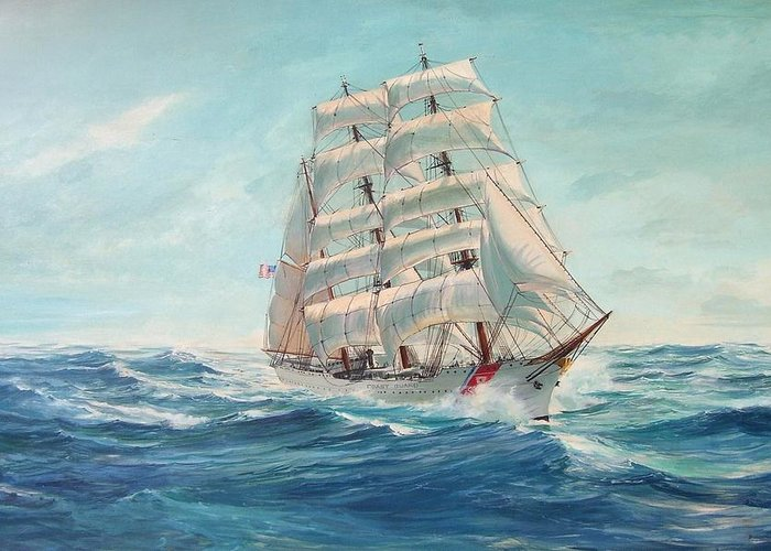 Coast Guard Training Ship - Eagle Newport Greeting Card featuring the painting Sailing Eagle by Perry's Fine Art