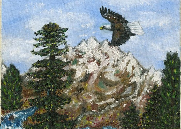 Eagle In Flight To Its Nest With Montana Mountains In Background Greeting Card featuring the painting Eagle To Eaglets In Nest by Tanna Lee M Wells