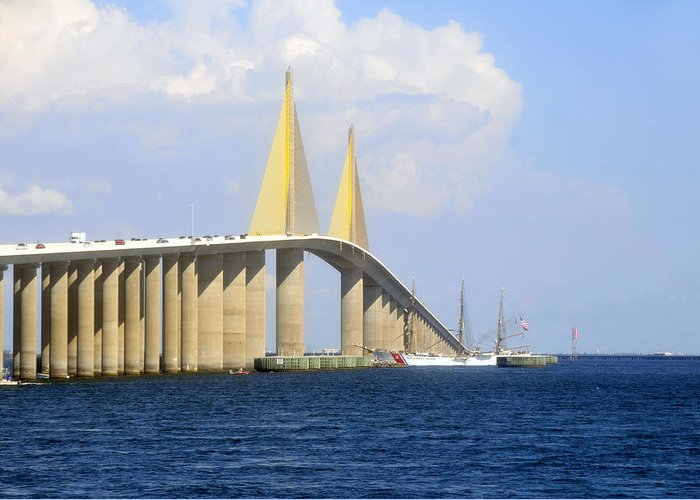 Sunshine Skyway Bridge Greeting Card featuring the photograph Eagle Under The Sunshine by David Lee Thompson