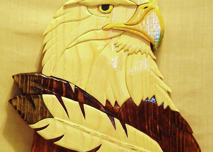 Intarsia Greeting Card featuring the sculpture Eaglehead With Two Feathers by Russell Ellingsworth