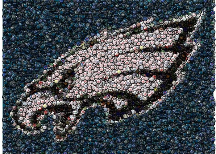 Philly Greeting Card featuring the mixed media Eagles Bottle Cap Mosaic by Paul Van Scott