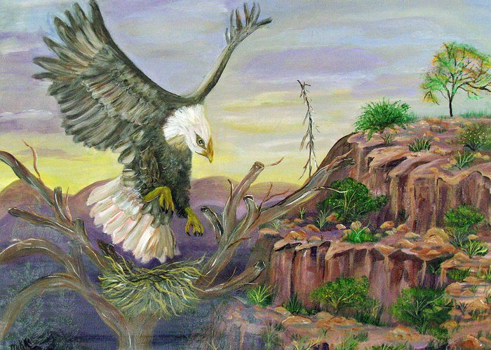 Eagle Greeting Card featuring the painting Eagles Nest by Mikki Alhart