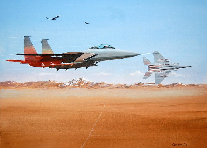 Air Force Eagle Eagles Jet Fighter Desert Landscape Military F-15 Patriotism Greeting Card featuring the painting Eagles by Werner Pipkorn