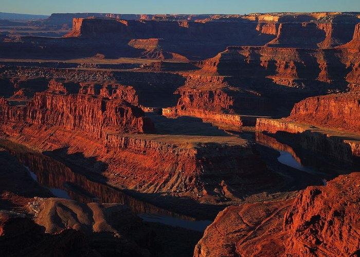Deadhorse Greeting Card featuring the photograph Early Morning Light Hits Dead Horse Point State Park by Jetson Nguyen