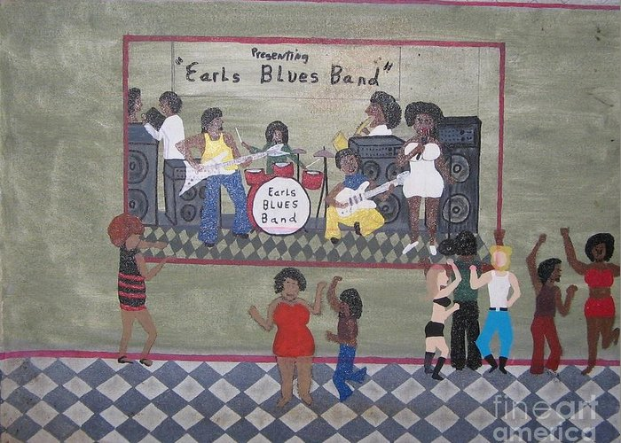 Blues Greeting Card featuring the painting Earls Blues Band by Gregory Davis