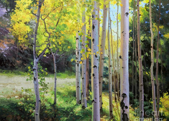 Aspen Tree Greeting Card featuring the painting Early Autumn Aspen by Gary Kim